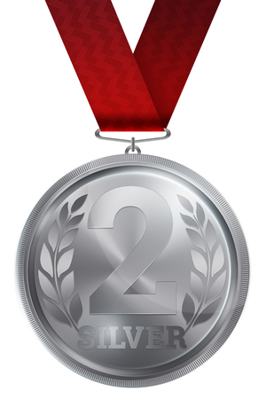 Silver medal, second place. Winner, champion, number two. 2nd place. Metalworkers reward. Red ribbon. Isolated on white background. Realistic illustration. Sports theme. Reklamní fotografie