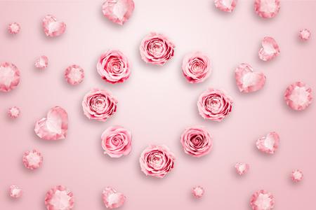 ピンクのバラと緑の葉はピンクの背景に対して。フラットレイ、コピースペース、ミクストメディア、トップビュー。