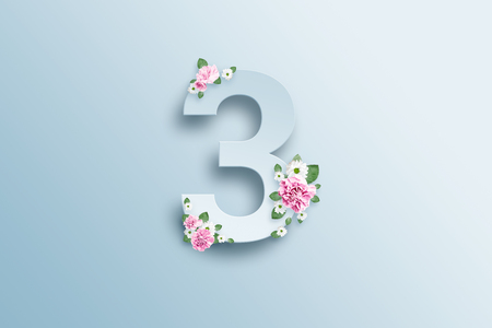 A figure of three, pink roses and green leaves on a light background. Spring background. flat lay, copy space, Mixed media, top view.