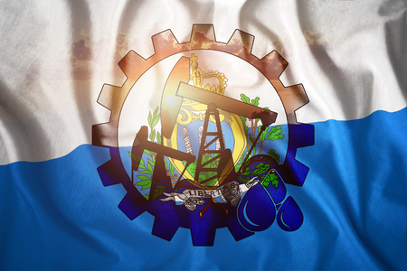 Oil rig on the background of the flag of Marino. Mixed environment. The concept of oil production, minerals, development of new deposits, well.