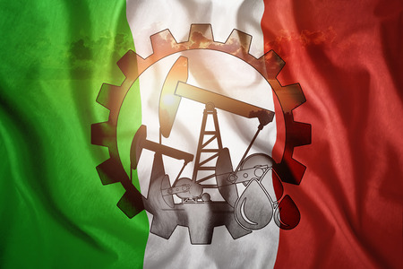 Oil rig against the background of the flag of Italy. Mixed environment. The concept of oil production, minerals, development of new deposits, well.