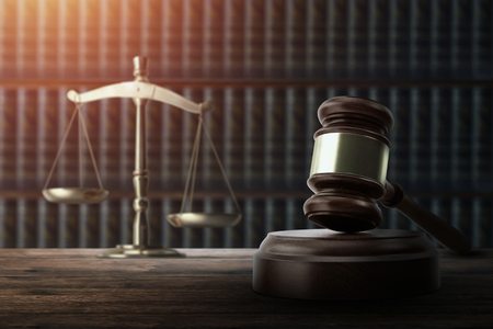 Judges gavel and on a wooden table. Concept of law, justice, punishment, judge, corrupt court. copy space Stockfoto