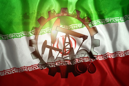 Oil rig on the background of the flag of Iran. Mixed environment. The concept of oil production, minerals, development of new deposits, well.