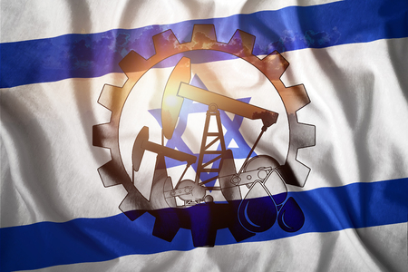 Oil rig on the background of the flag of Israel. Mixed environment. The concept of oil production, minerals, development of new deposits, well. Stockfoto