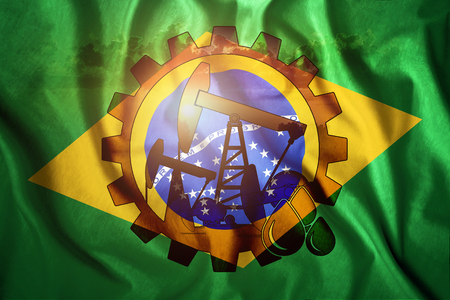 Oil rig on the background of the flag of Brazil. Mixed environment. The concept of oil production, minerals, development of new deposits, well.