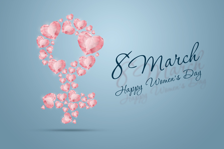 International Women's Day, March 8, the sign of a woman is made up of pink diamonds, precious stones. Celebration concept, banner, poster, invitation, background. Imagens - 122339354