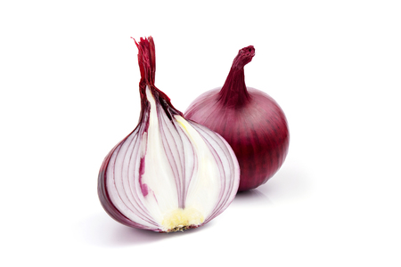 head of a red sliced onion on a white background 写真素材
