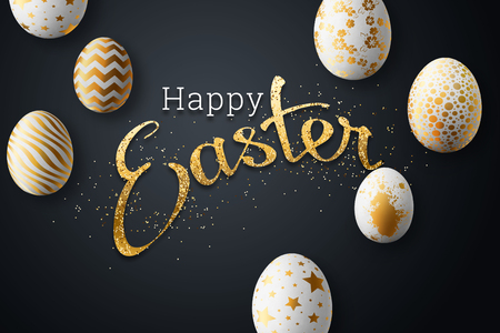 Happy easter, painted Easter eggs on a colored background. White gold pattern. Illustration