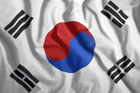 South Korean flag waving in the wind. Colorful national flag of South Korea. Patriotism, patriotic symbol.