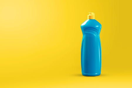 Image with cleaning agent for cleaning on a yellow background. The concept of cleaning the premises, cleanliness.