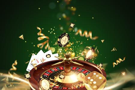 Fondo creativo, ruleta, juego de dados, cartas, fichas de casino sobre un fondo verde. El concepto de juegos de azar, casino, ganancias, juegos de Vegas. Render 3D, ilustración 3D