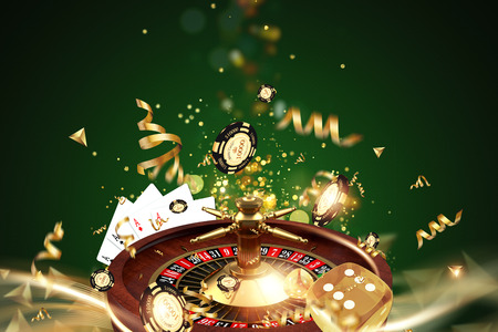Creative background, roulette, gaming dice, cards, casino chips on a green background. The concept of gambling, casino, winnings, Vegas Games. 3D render, 3D illustration