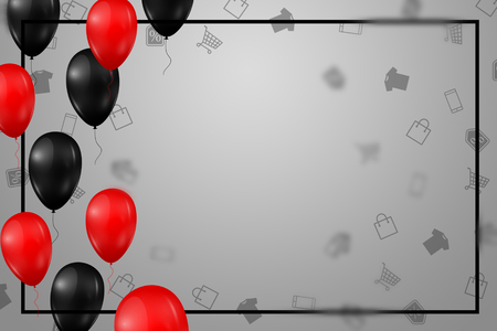 Poster with shiny balloons with a square frame on a light background.