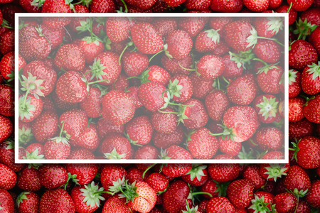 Fruit background, lots of strawberries, top view, white frame. Healthy food, fresh natural fruits, berries.