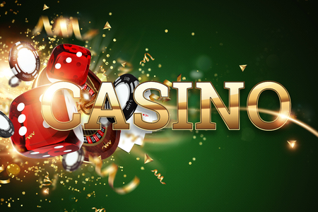 Creative background, inscription casino, gambling dice, cards, casino chips on a green background. The concept of gambling, casino, winnings, Vegas Games Background. 3D render, 3D illustration. 写真素材