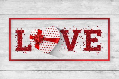 Festive web banner for Valentines Day. Top view of a composition with the word love from rose petals and a realistic gift in the form of a heart on a white background. Greeting card, flyer. Stock fotó
