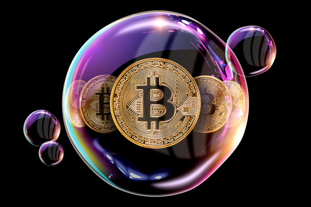 Gold Coins Bitcoin in a soap bubble. The concept of instability of the crypto currency, electronic money, the burning of the crypto currency. against a dark background Stock Photo
