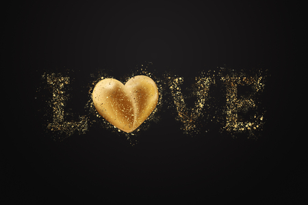 Love letter from golden confetti, black gold. Festive web banner, flyer, with Valentines Day.