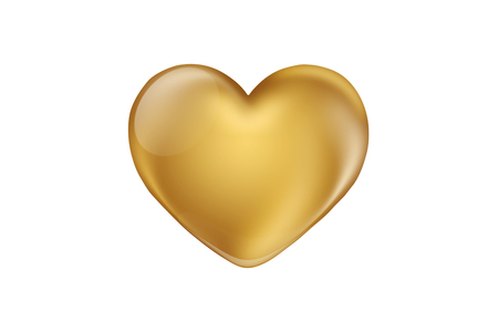 Gold heart isolated on white background. Happy Valentines day greeting card template Stockfoto