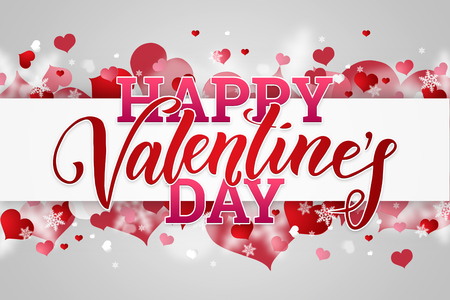 Happy Valentines Day festive web banner with pink hearts on a light background