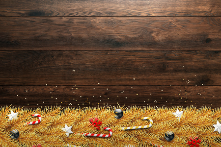 Christmas card, realistic, golden branches of a Christmas tree with balls, candy, snowflakes. Happy new year, merry Christmas. Flat lay, copy space