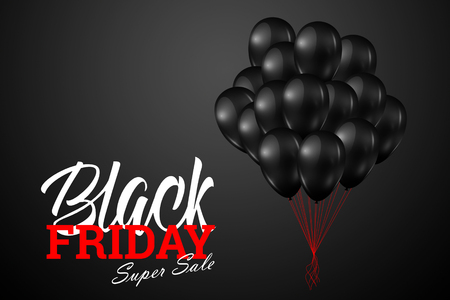 Inscription Black Friday Sale, a poster with shiny balloons with on a black background.