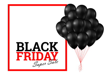Inscription Black Friday Sale, a poster with shiny balloons with a square frame on a light background. Stock Photo