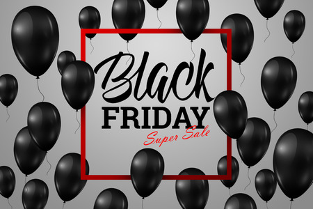 Inscription Black Friday Sale, a poster with shiny balloons with a square frame on a light background.