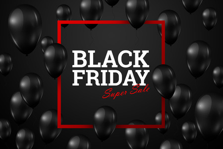 Inscription Black Friday Sale, a poster with shiny balloons with a square frame on a black background.