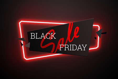 Inscription Black Friday Sale of labels on geometric neon banners on a dark background. Style of glossy plastic.