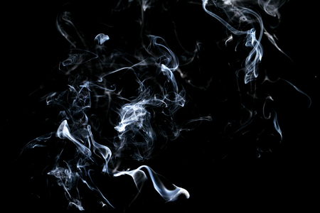 Abstract, white smoke isolated on black background. Isolate Standard-Bild