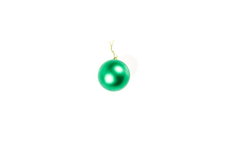 Christmas toys for the Christmas tree and new year, green ball, isolated on white background. Isolate.