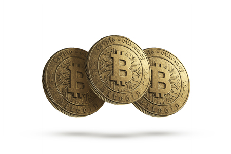 Gold coin Bitcoin on white background. The concept of crypto currency. Blockchain technology.