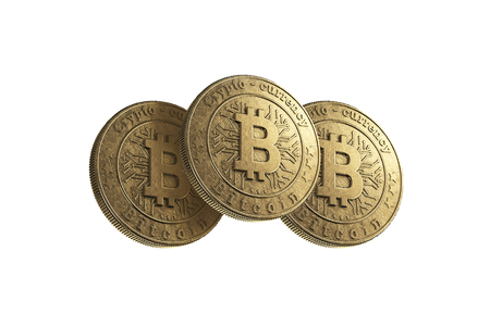 Gold coin Bitcoin on white background. The concept of crypto currency. Blockchain technology. Imagens - 122721649