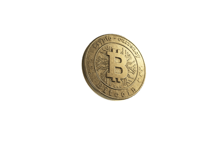 Gold coin Bitcoin on white background. The concept of crypto currency. Blockchain technology. Imagens - 122721650