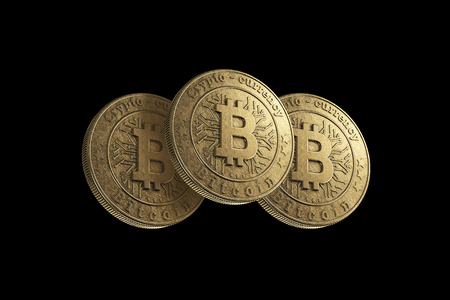 Gold coin Bitcoin on a black background. The concept of crypto currency. Blockchain technology. Imagens