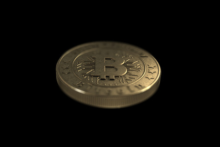 Gold coin Bitcoin on a black background. The concept of crypto currency. Blockchain technology. Imagens - 122721655