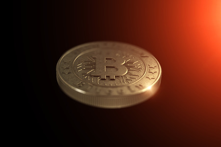 Gold coin Bitcoin on a black background. The concept of crypto currency. Blockchain technology. Imagens - 122721656