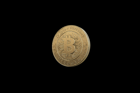 Gold coin Bitcoin on a black background. The concept of crypto currency. Blockchain technology. Imagens - 122720595