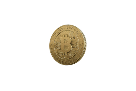 Gold coin Bitcoin on white background. The concept of crypto currency. Blockchain technology. Imagens - 122720604