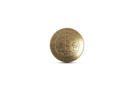 Gold coin Bitcoin on white background. The concept of crypto currency. Blockchain technology. Imagens - 122720572