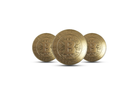 Gold coin Bitcoin on white background. The concept of crypto currency. Blockchain technology. 版權商用圖片 - 122720570
