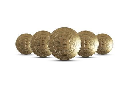 Gold coin Bitcoin on white background. The concept of crypto currency. Blockchain technology. 版權商用圖片 - 122720582