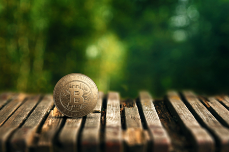 Gold coin Bitcoin on a wooden table on a background of blurred green nature. The concept of crypto currency. Blockchain technology. Imagens - 122720086