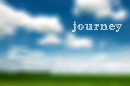Image de concept de voyage, voyage de mot sur un arrière-plan flou de la nature