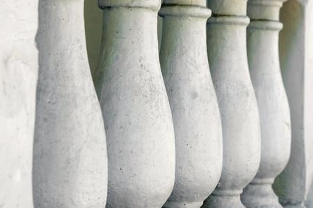 weathered stone railing at temple Stockfoto