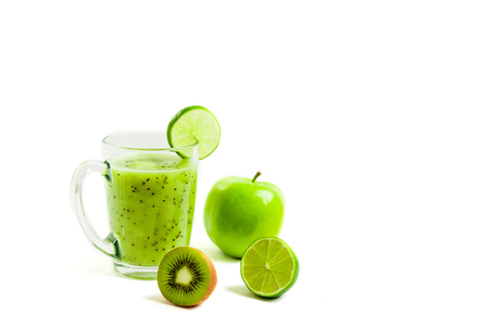 Green healthy cocktail of kiwi, green apple, lime and mint isolated on white background view of a crook Reklamní fotografie