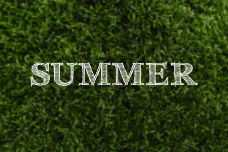 The word summer is written against a background of blurred green moss. The concept of vacation, summer, vacation. Imagens