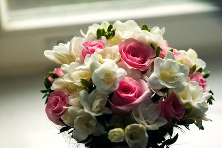 Beautiful wedding bouquet on a dark background