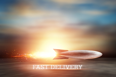 Creative background, rocket takes off. Super fast delivery, cool service, online shopping, space, satellites. Copy space, Mixed media Stock Photo